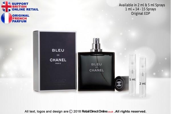 Bleu de Chanel ( Original) | Eau de Parfum | 5 ML | Atomiser Spray Sample Tester Glass Bottle | Perfume