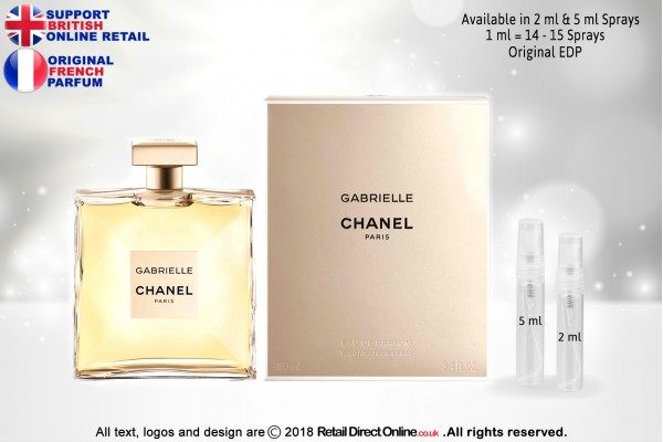 Chanel Gabrielle ( Original) | Eau de Parfum | 5 ML | Atomiser Spray Sample Tester Glass Bottle | Perfume