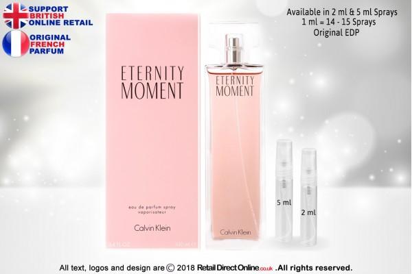 Eternity Moment Calvin Klein ( Original) | Eau de Parfum | 5 ML | Atomiser Spray Sample Tester Glass Bottle | Perfume