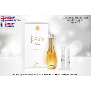 J'adore L'Or by Miss Dior ( Original) | Eau de Parfum | 2 ML | Atomiser Spray Sample Tester Glass Bottle | Perfume
