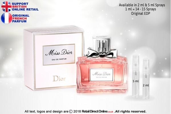 Miss Dior ( Pink) ( Original) | Eau de Parfum | 5 ML | Atomiser Spray Sample Tester Glass Bottle | Perfume