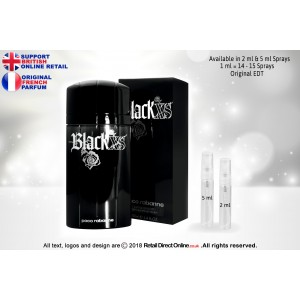 Paco Rabanne Black XS (Original) | Eau De Toilette | 5 ML | Atomiser Spray Sample Tester Glass Bottle | Perfume